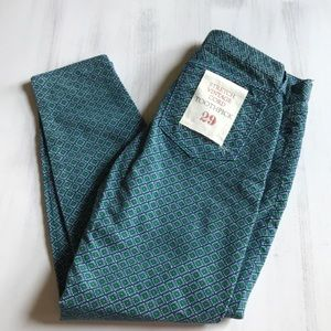 NWT! J.Crew green patterned corduroy pant